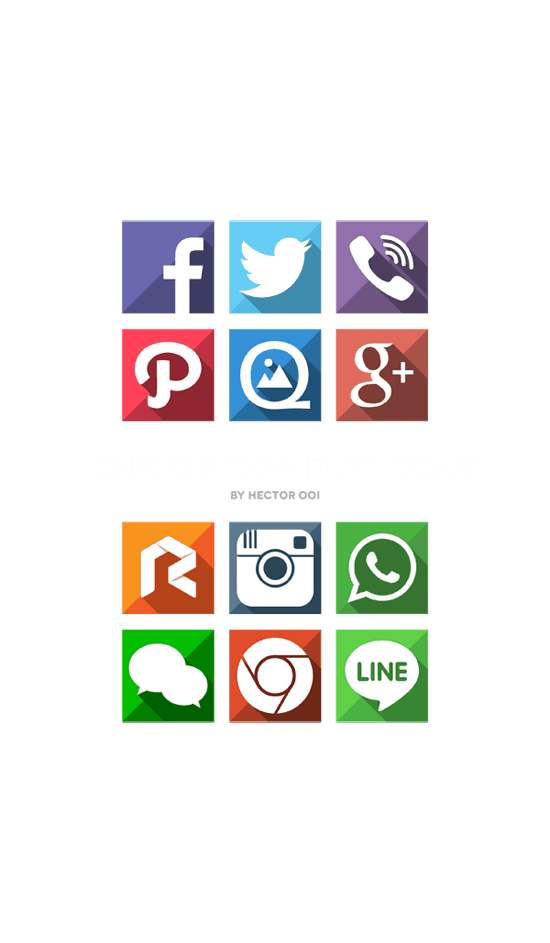 Long Shadow Flat Icons