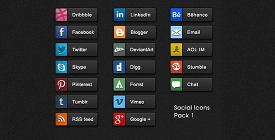 19 Detailed quality Social share buttons pack