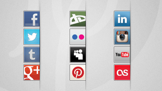 Right side social buttons
