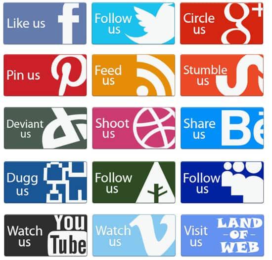 Social Buttons PSD Template
