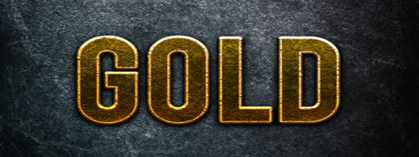Photoshop Gold Text Layer Style.