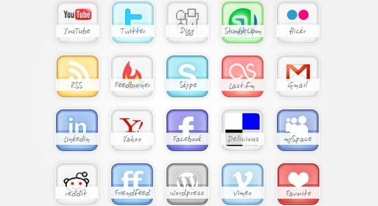 Icon set: Free glossy social icons