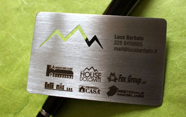 Metal steel business cards laser cut