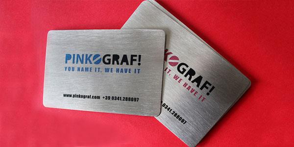 Pinkograph metal steel business cards