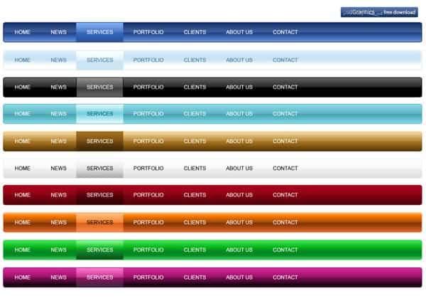 PSD navigation menu