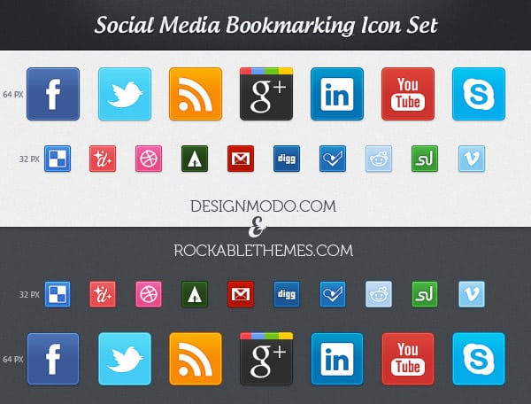 Social Media Bookmarking Icon Set
