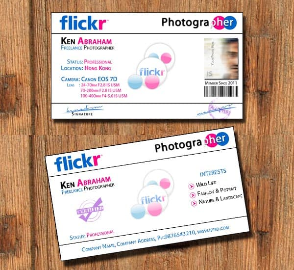 Flickr business card