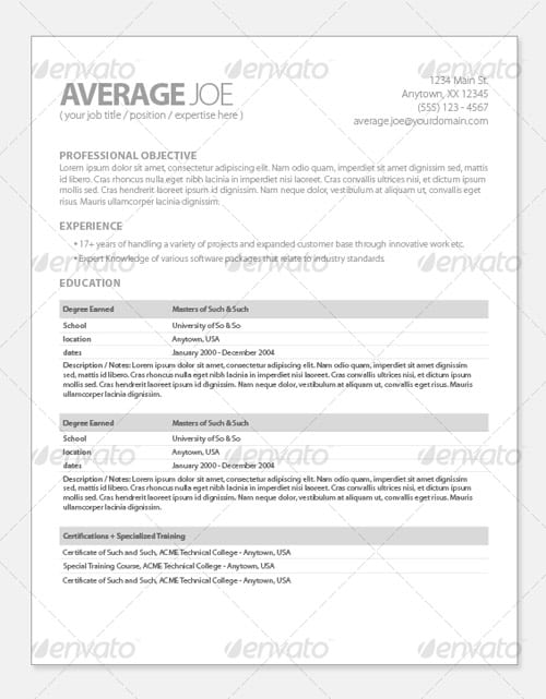 Modern and Professional Resume Templates