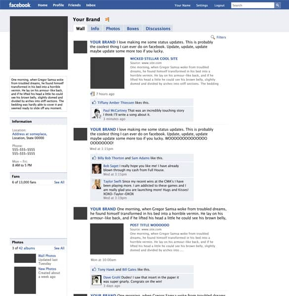 Mock up Facebook Fanpage PSD