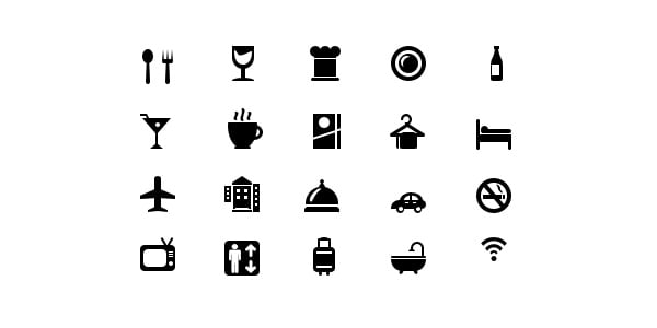 Top 20 Hotel and restaurant glyph icons (Vector PSD)