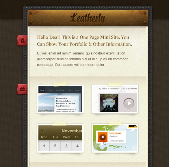Leather One Page Photoshop Site Template