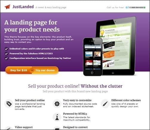 JustLanded-landing-page-templates