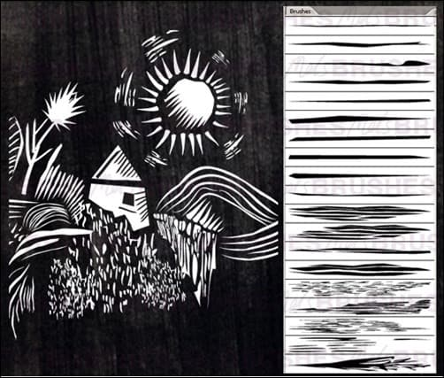 Lino-Cut-Brushes-illustrator-brush