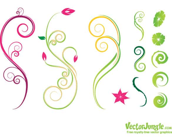Floral Swirl Nature Design Vectors