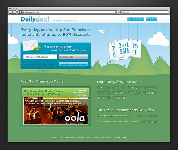 Daily Deal Website Layout PSD