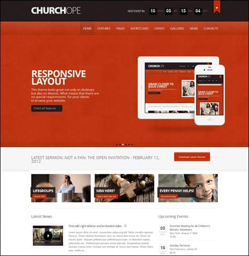 church-hope wordpress church themes
