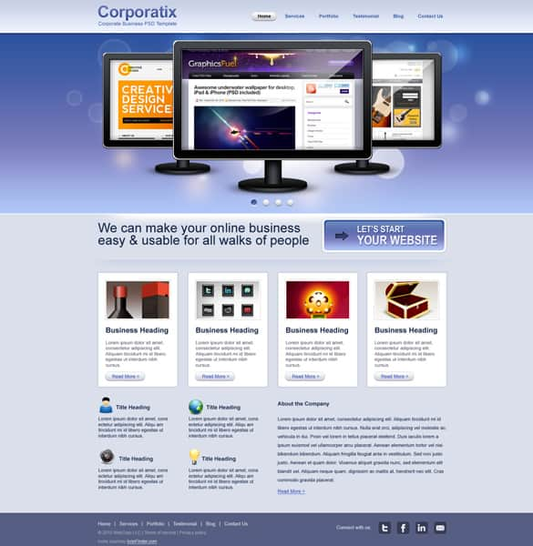 Modern Corporate Business Website PSD template