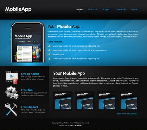 Dark Mobile Web Page Design