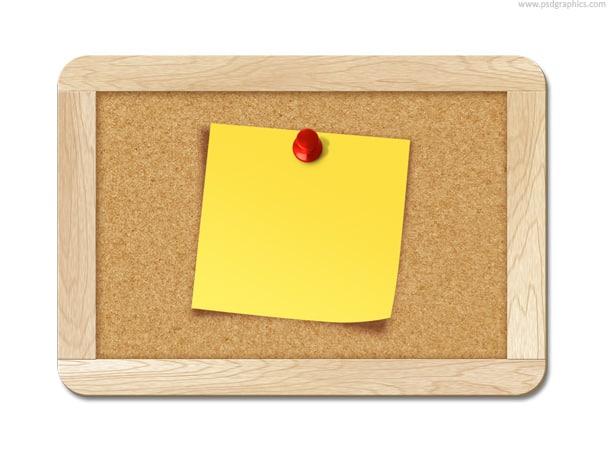 note pinned to corkboard