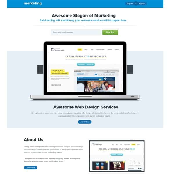 Awesome Marketing Landing Page Template PSD