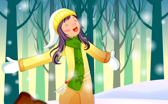 Singing Girl Snowy Winter Vector