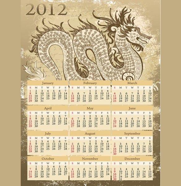 Detailed Vector 2012 Dragon Calendar