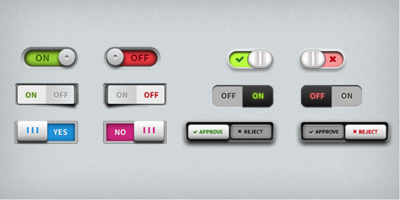 Toggle Switches UI elements PSD