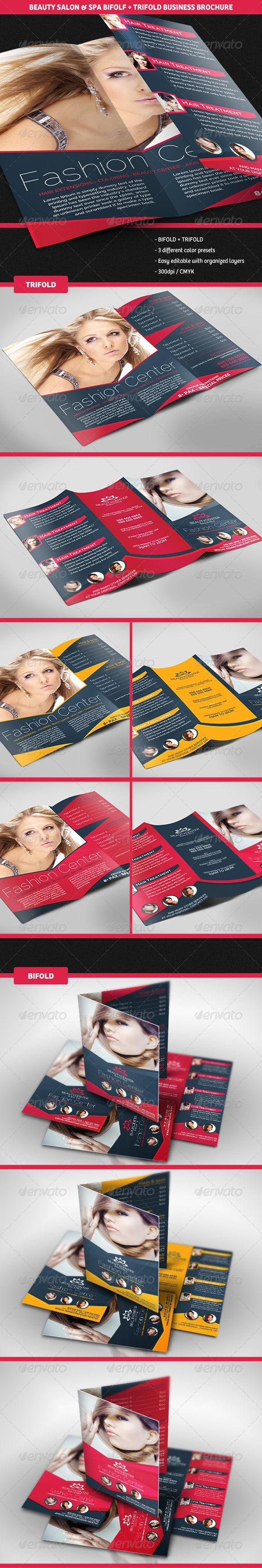 Beauty Center Bifold + Trifold Business Brochures