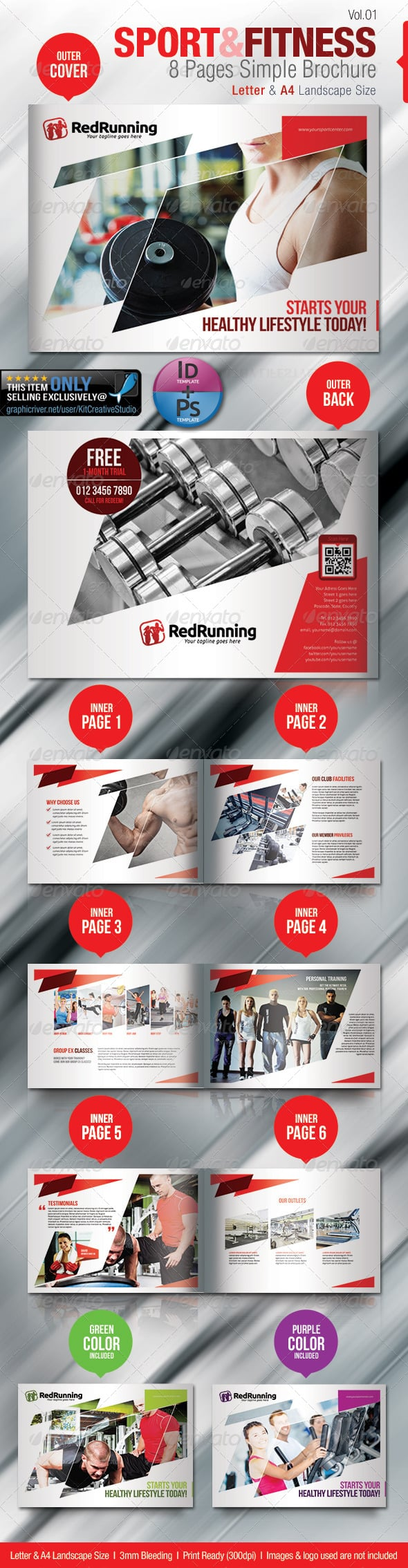 Fitness & Sport 8 Pages Simple Brochure