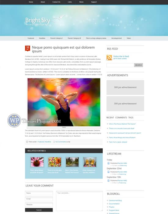 Sky WordPress Personal Blog Theme