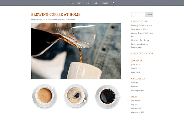 Divi theme blogging