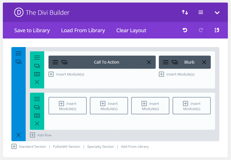 Divi builder back-end
