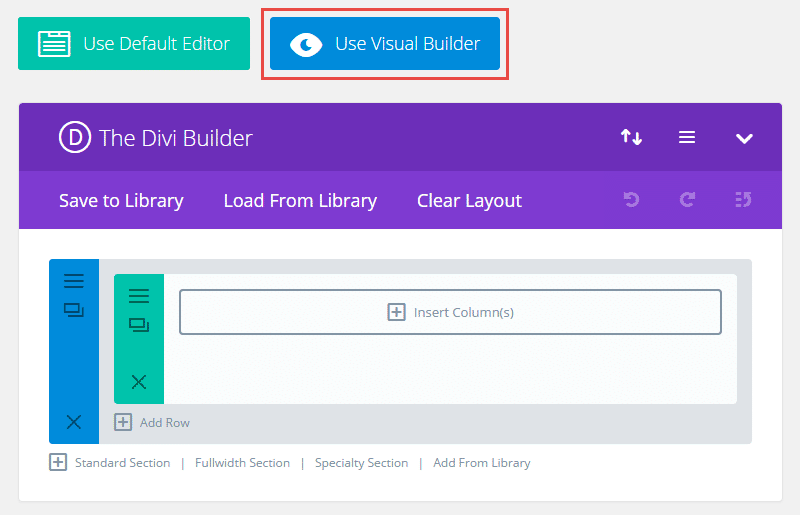 Divi visual builder button