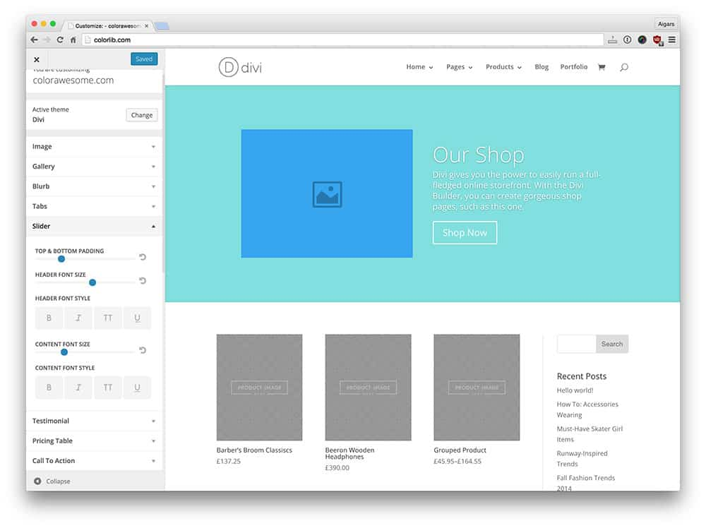 Module customization Divi theme