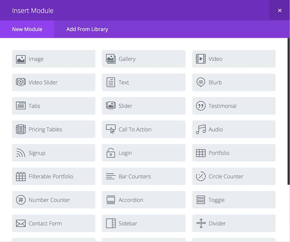 Divi theme modules